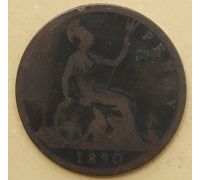 1 пенни 1890 год Великобритания, one penny Королева Виктория