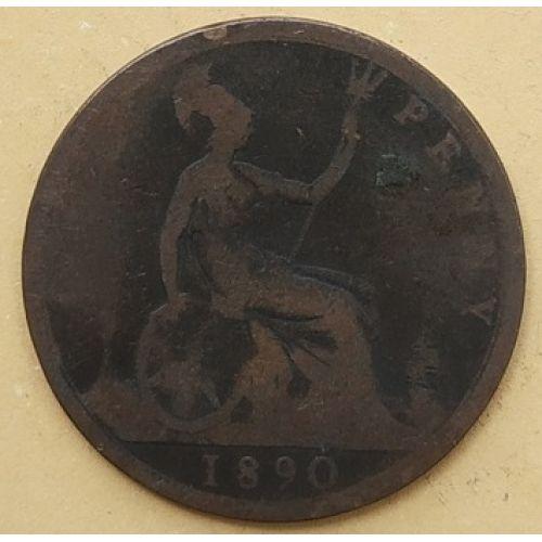 1 пенни 1890 год Великобритания, one penny. Королева Виктория