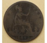 1 пенни 1892 год Великобритания, one penny Королева Виктория