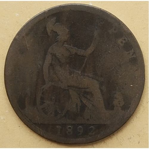 1 пенни 1892 год Великобритания, one penny. Королева Виктория