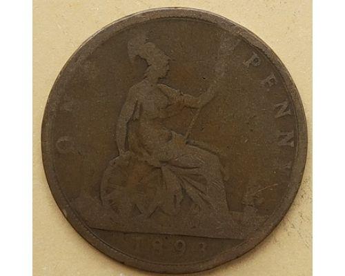 1 пенни 1893 год Великобритания, one penny Королева Виктория