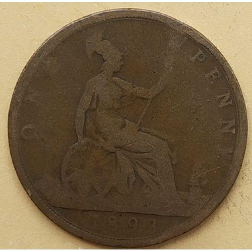 1 пенни 1893 год Великобритания, one penny. Королева Виктория