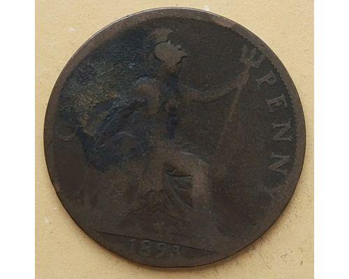 1 пенни 1895 год Великобритания, one penny Королева Виктория