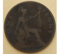 1 пенни 1895 год Великобритания, one penny Королева Виктория #2