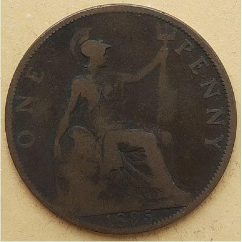 1 пенни 1895 год Великобритания, one penny. Королева Виктория #2