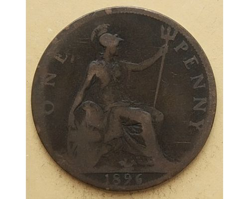 1 пенни 1896 год Великобритания, one penny Королева Виктория