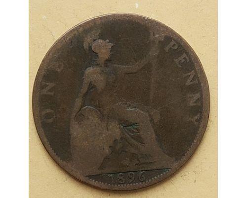 1 пенни 1896 год Великобритания, one penny Королева Виктория #2