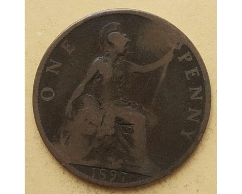 1 пенни 1897 год Великобритания, one penny Королева Виктория