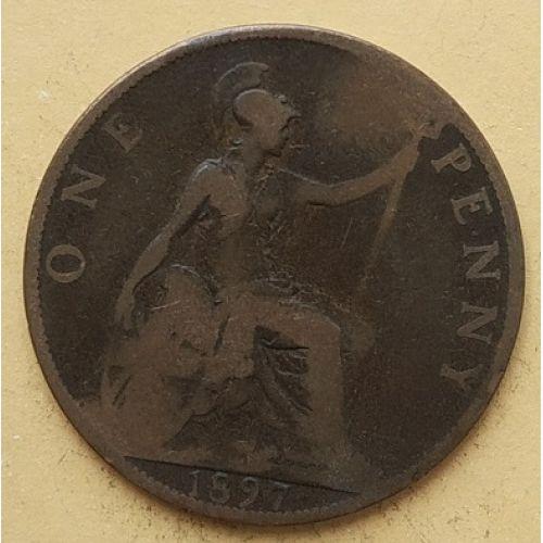 1 пенни 1897 год Великобритания, one penny. Королева Виктория