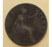 1 пенни 1897 год Великобритания, one penny Королева Виктория #2
