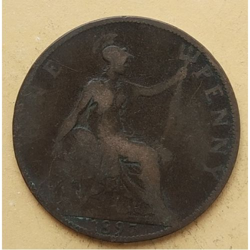 1 пенни 1897 год Великобритания, one penny. Королева Виктория #2