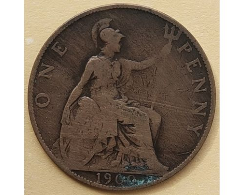 1 пенни 1900 год Великобритания, one penny Королева Виктория