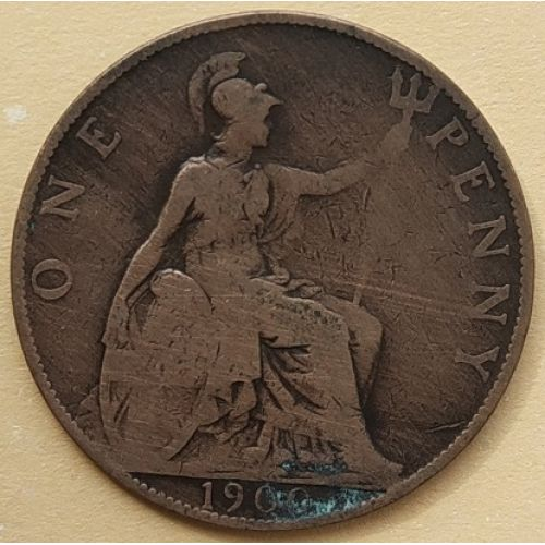 1 пенни 1900 год Великобритания, one penny. Королева Виктория