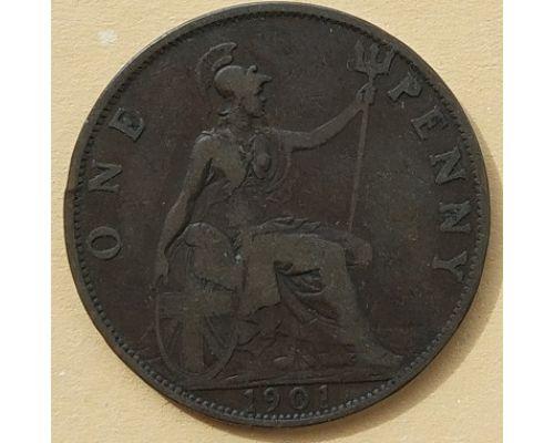 1 пенни 1901 год Великобритания, one penny Королева Виктория