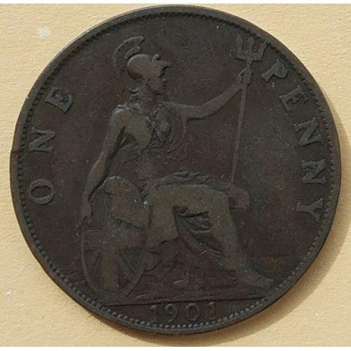 1 пенни 1901 год Великобритания, one penny. Королева Виктория