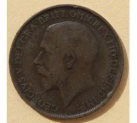 1 пенни 1912 год Великобритания, one penny Георг V