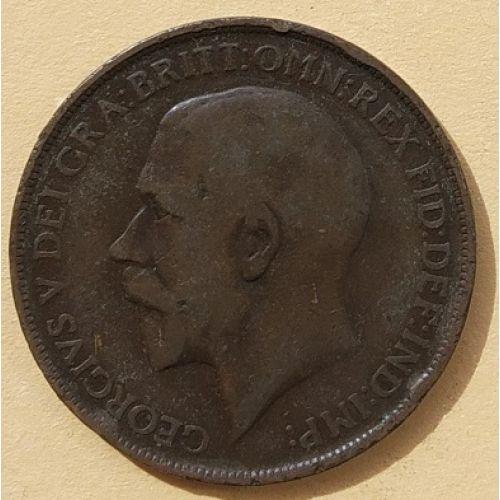 1 пенни 1912 год Великобритания, one penny. Георг V