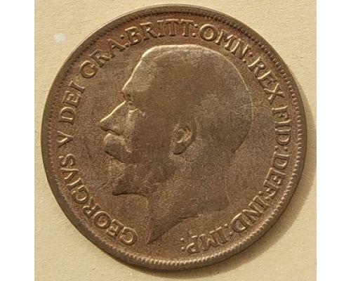 1 пенни 1916 год Великобритания, one penny Георг V
