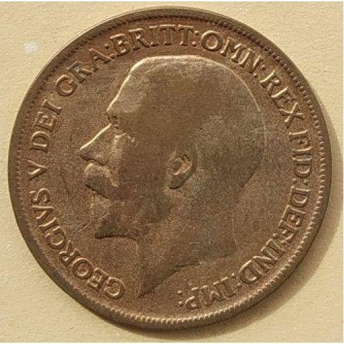 1 пенни 1916 год Великобритания, one penny. Георг V