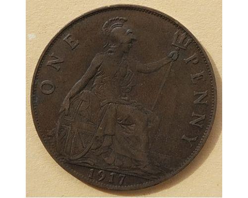 1 пенни 1917 год Великобритания, one penny Георг V