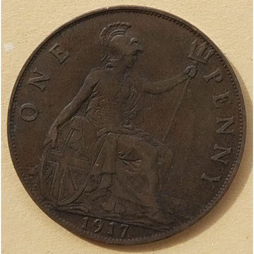 1 пенни 1917 год Великобритания, one penny. Георг V
