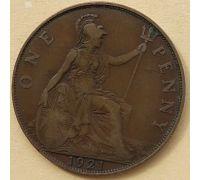 1 пенни 1921 год Великобритания, one penny Георг V