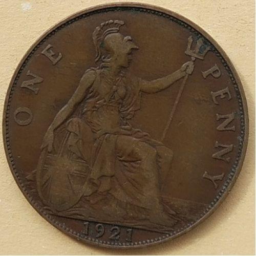 1 пенни 1921 год Великобритания, one penny. Георг V