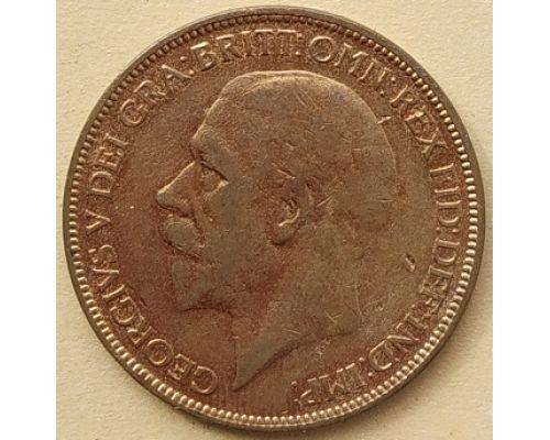 1 пенни 1927 год Великобритания, one penny Георг V