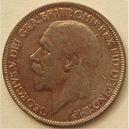 1 пенни 1927 год Великобритания, one penny. Георг V