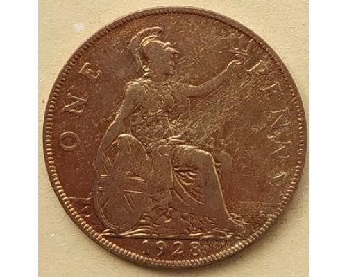 1 пенни 1928 год Великобритания, one penny Георг V