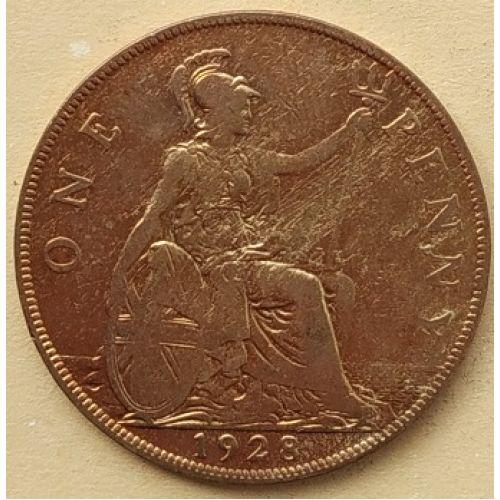 1 пенни 1928 год Великобритания, one penny. Георг V