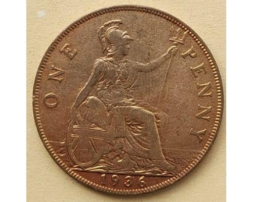 1 пенни 1936 год Великобритания, one penny Георг V