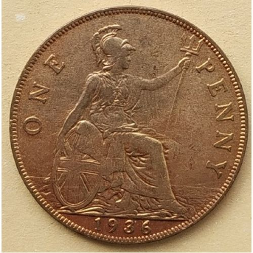 1 пенни 1936 год Великобритания, one penny. Георг V