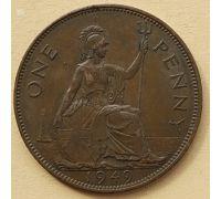 1 пенни 1949 год Великобритания, one penny Георг VI РЕДКИЙ