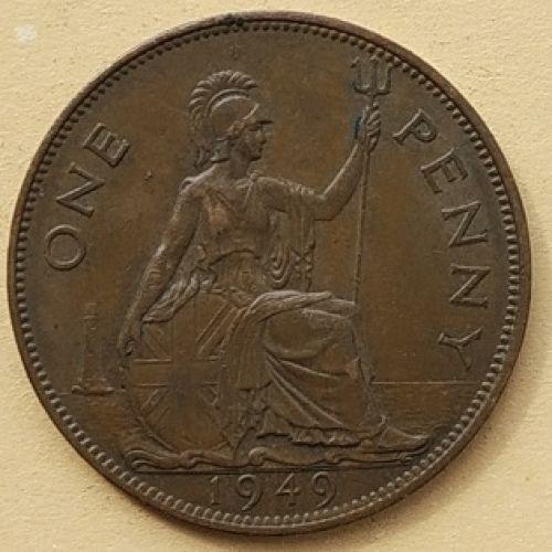 1 пенни 1949 год Великобритания, one penny. Георг VI. РЕДКИЙ