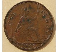 1 пенни 1967 год Великобритания, one penny Елизавета II