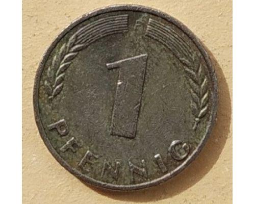 1 пфенниг 1950 год F Германия ФРГ  (БЕЛЫЙ МЕТАЛЛ)