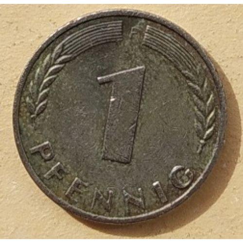 1 пфенниг 1950 год F Германия. ФРГ  (БЕЛЫЙ МЕТАЛЛ)