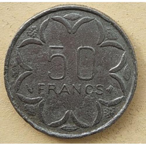 50 франков 1996 год Центральная Африка. Три антилопы