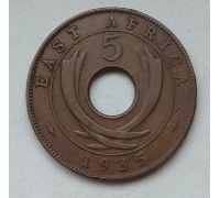 5 центов 1935 год Восточная Африка Георг V Гурт гладкий