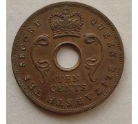10 центов 1956 год Восточная Африка Елизавета II
