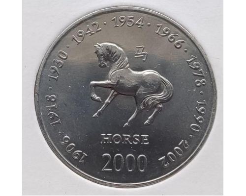 10 шиллингов 2000 год Сомали Восточный Календарь Год Лошади UNC в держателе
